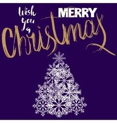 Merry christmas handwritten gold lettering design vector