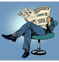 Newspaper reading man vector image vector image