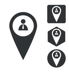 Person marker icon set monochrome vector image