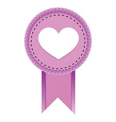 pink emblem with heart sign - vector image vector image