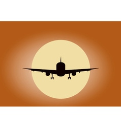 plane in sunset vector image vector image
