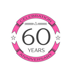 Realistic sixty years anniversary celebration logo vector