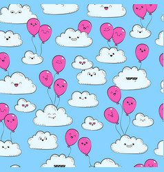 seamless pattern with clouds and pink air vector image vector image