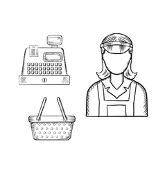 Seller cash register and shopping cart sketches vector image vector image