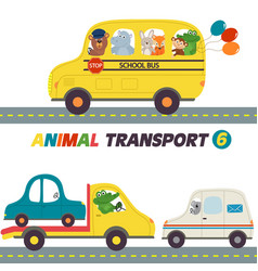 Set of isolated transports with animals part 6 vector