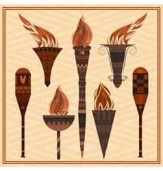 Set ornamental blazing torches elements greek vector image vector image