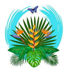 tropical bouquet print vector image vector image