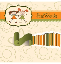 two little girls best friends vector image