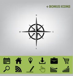 Wind rose sign black icon at gray vector