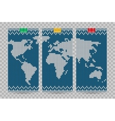 world map business cards set blue knitting vector image vector image