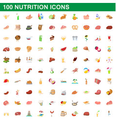 100 nutrition icons set cartoon style vector image vector image