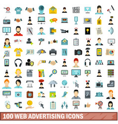 100 web advertising icons set flat style vector image vector image