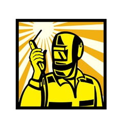 Welder worker welding torch retro vector
