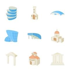 Habitation icons set cartoon style vector