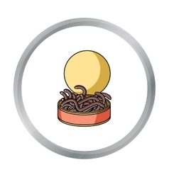 Tincan full of worms icon in cartoon style vector image