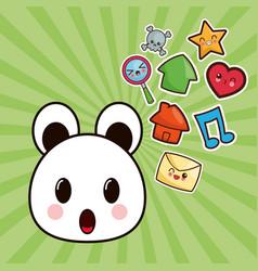 kawaii bear character social media image vector image