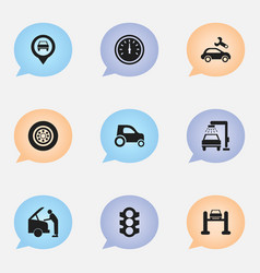 Set of 9 editable traffic icons includes symbols vector