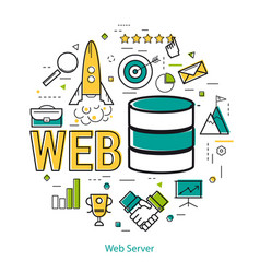 Line art concept - web server vector