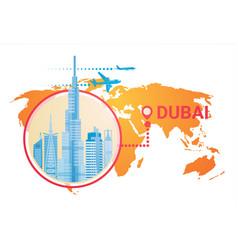 dubai skyline panorama over world map modern vector image
