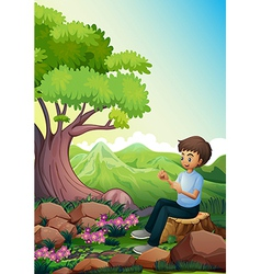 A man sitting above a stump vector image