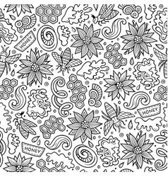 cartoon cute honey seamless pattern vector image