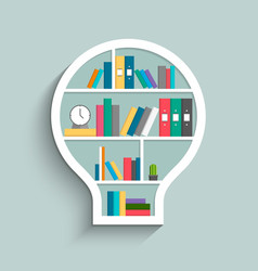 Bookshelf in form of lightbulb with colorful books vector