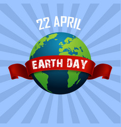 Earth day april 22 and red ribbon vector