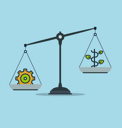 Progress and prosperity on scales business success vector