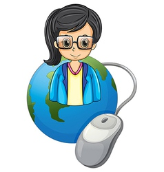 A serious lady above the globe with a computer vector image
