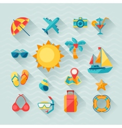Travel and tourism icon set in flat design style vector