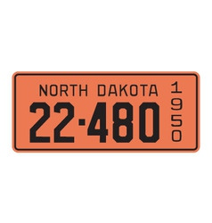 North dakota 1950 license plate vector