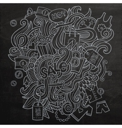 Sale doodles elements sketch background vector