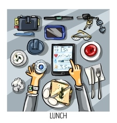 Top view background - person having lunch vector