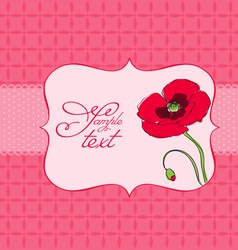 Poppy flower greeting card vector