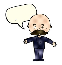 Cartoon bald man with open arms with speech bubble vector