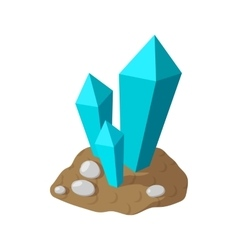 Crystals in earth cartoon icon vector image