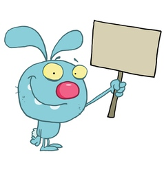 Blue Rabbit Holding Up A Happy Easter vector image