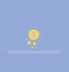 background with money inscribed in line head vector image