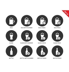 Beer and drinking icons on white background vector
