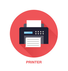 black printer with paper page flat style icon vector image