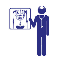 Color silhouette pictogram doctor and radiography vector