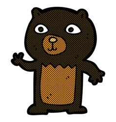 Comic cartoon waving black bear cub vector