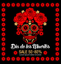 Day of dead traditional sale background vector