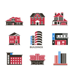 Digital black red city buildings vector