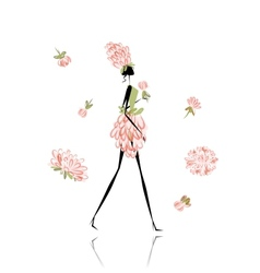 Floral girl for your design vector image vector image