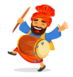 Funny dancing sikh man with drum vector