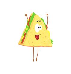 funny sandwich cartoon fast food character vector image