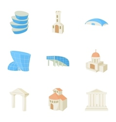 Habitation icons set cartoon style vector