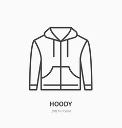 hoodie sweater flat line icon casual apparel vector image vector image