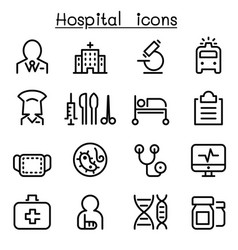 hospital medicine icon set in thin line style vector image vector image